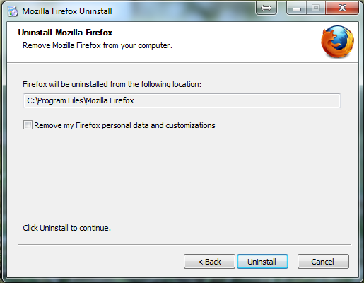 Firefox Uninstall process