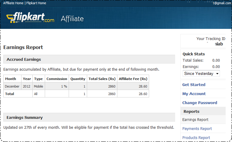 Flipkart Affiliate Earning