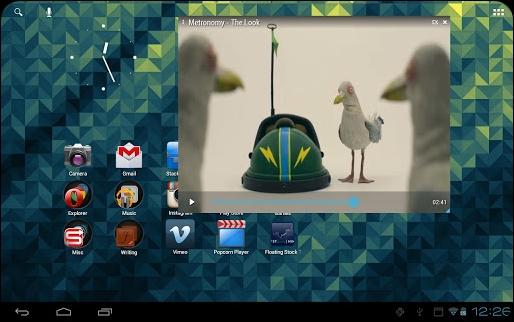 PopCorn Player App tablet
