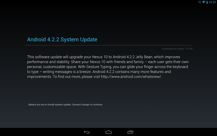 Android 4.2.2 Nexus 10 update