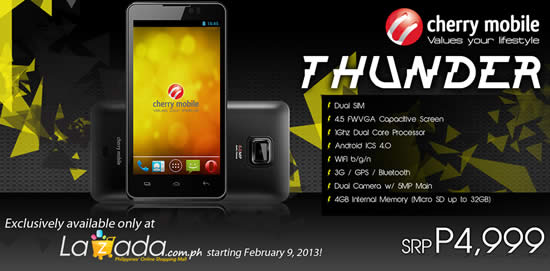 Cherry Mobile Thunder 4.5″ Android ICS Dual Core Phone at PHP4999