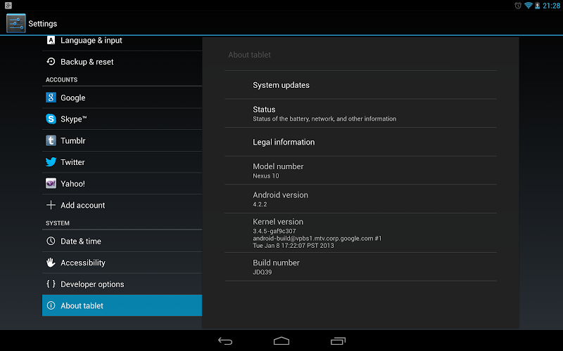 Nexus 10 Android 4.2.2 Update