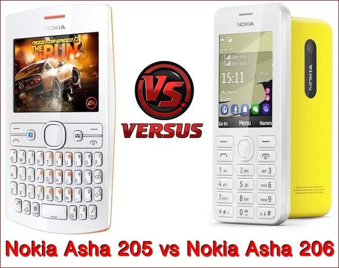 Nokia Asha 205 vs Nokia Asha 206
