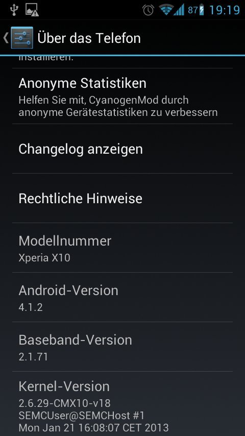 Xperia V Android 4.1.2