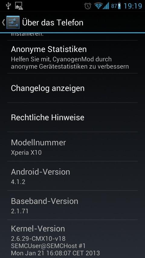 Xperia V Android 4.1.2