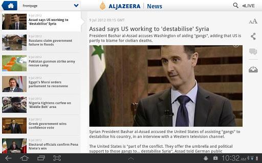 Al Jazeera Android App tablet