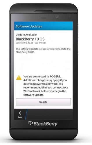 BlackBerry Z10 OS update