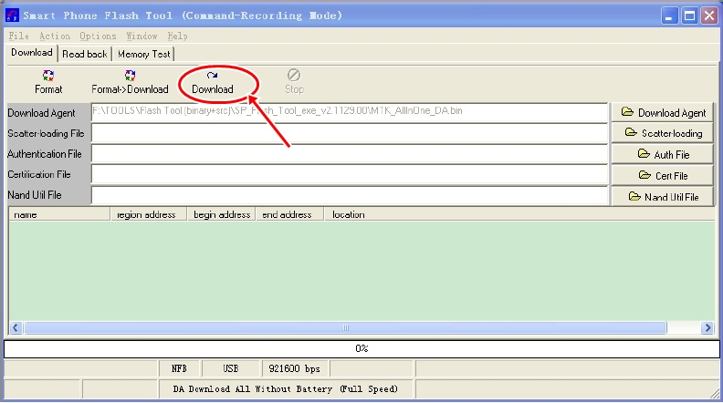 SP Flash Tool Download button
