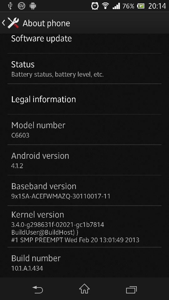 Sony XPeria Z OTA update