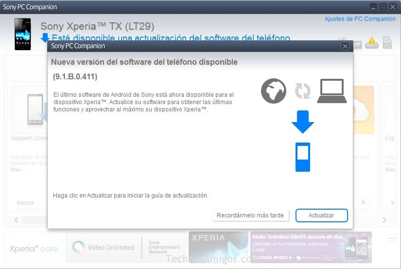 Xperia TX Android 4.1.2