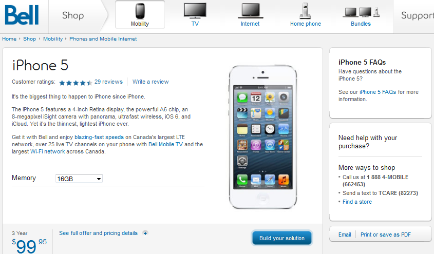 iPhone 5 Bell Canada