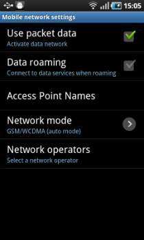 change roaming settings
