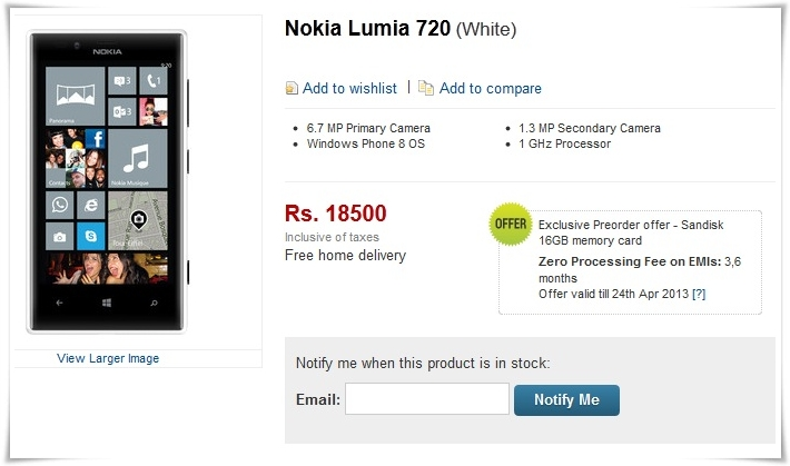 Nokia Lumia 720 Flipkart listing