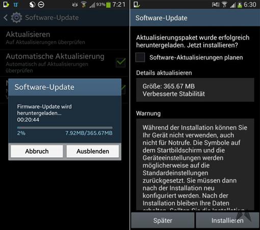 Samsung Galaxy S4 Germany Update