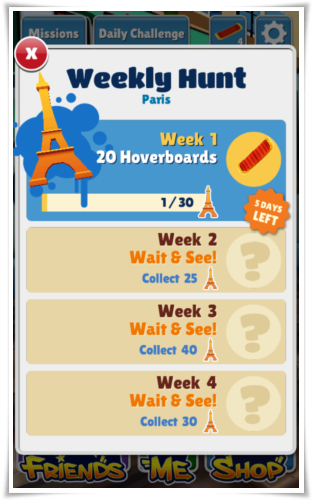 Subways Surfer Paris Weekly Hunt