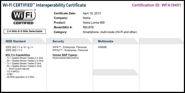 Nokia Lumia 909 Certification