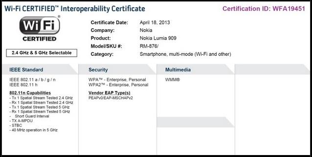 Nokia Lumia 909 Certification