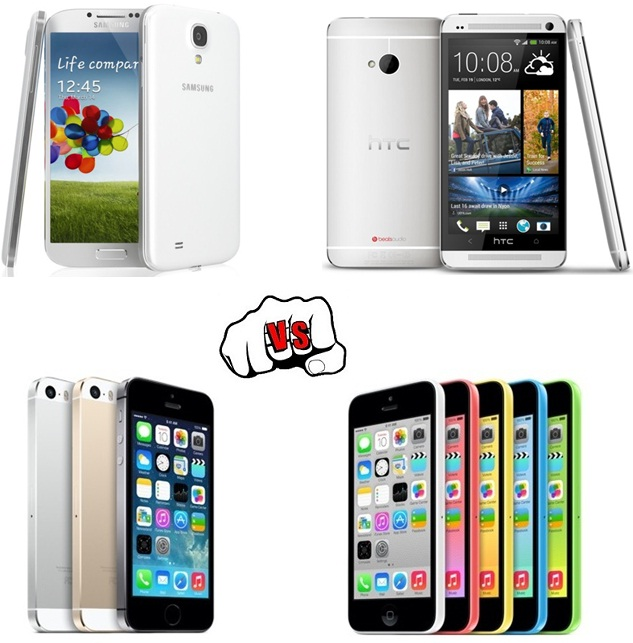 Apple iPhone 5C vs 5S vs S4 vs HTC One