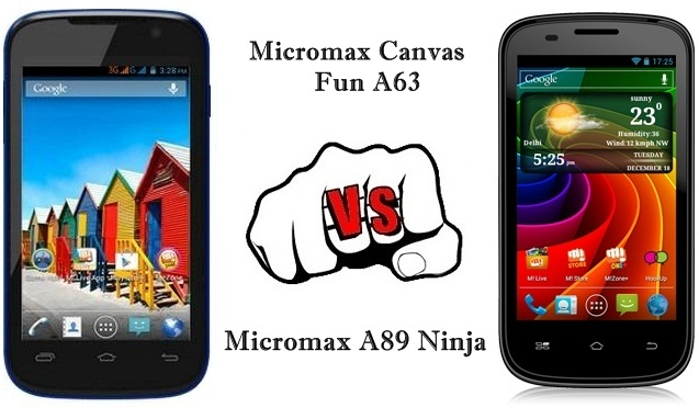 Micromax Canvas Fun A63 vs A89 Ninja