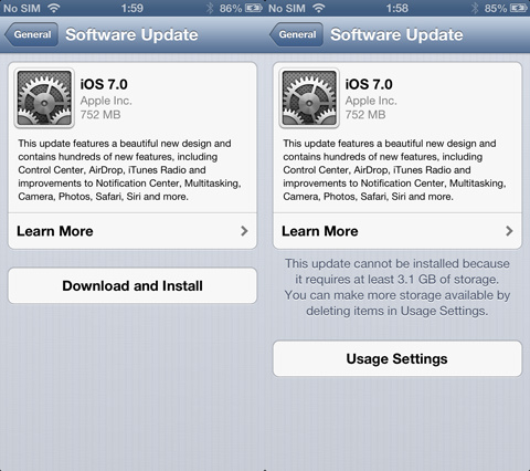 iOS 7 iPhone 5 update