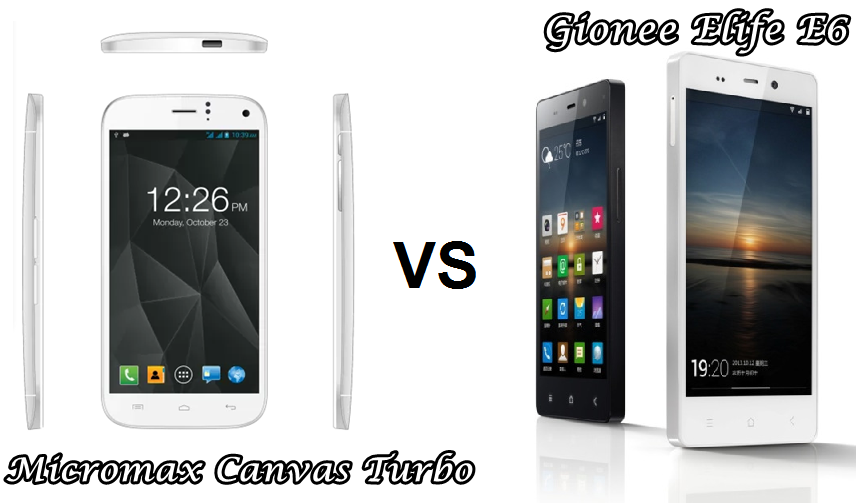 Micromax Canvas Turbo vs Gionee Elife E6