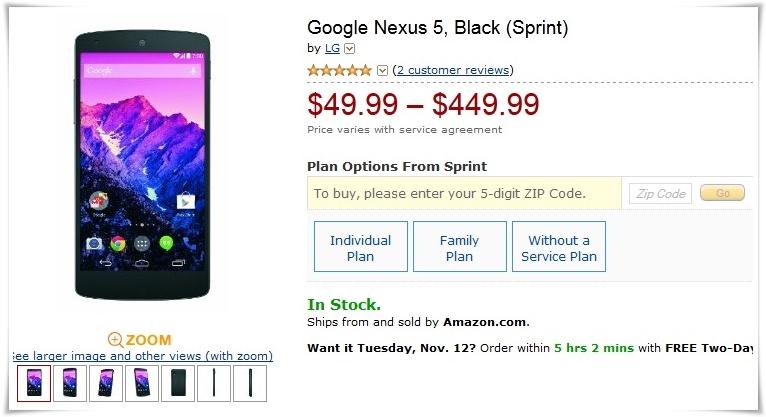 Google Nexus 5 Amazon
