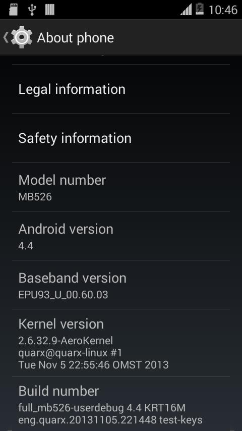 Motorola Defy Android 4.4 update