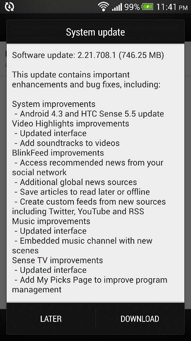 HTC Butterfly S update