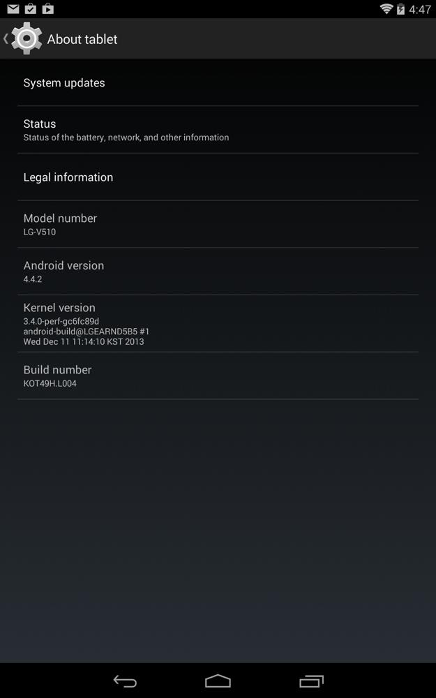 LG GPad V510 Kitkat update