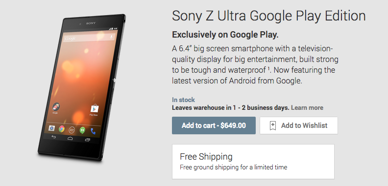 Sony Xperia Z Ultra Play Edition