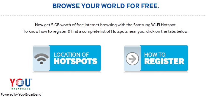 Samsung Free WiFi hotspot Offer
