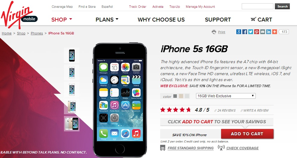 iPhone 5S Virgin Mobile