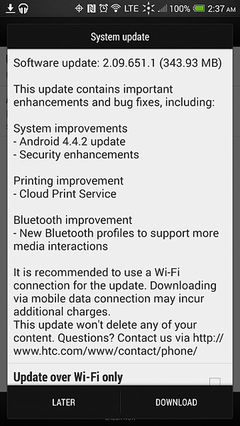 HTC One Max Sprint update