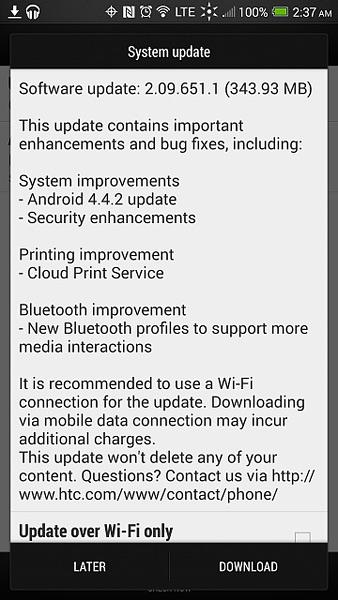 HTC One Max Sprint update