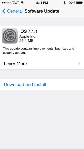 Apple iOS 7.1.1 Software Update