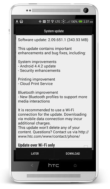 HTC One Max Kitkat update