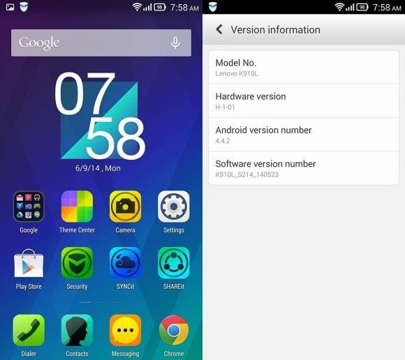Lenovo Vibe Z Android 4.4.2