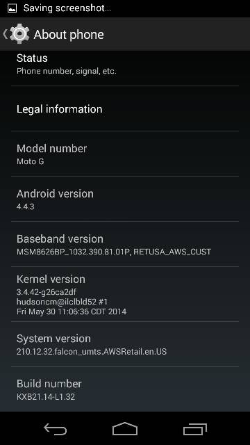 Moto G Android 4.4.3 firmware