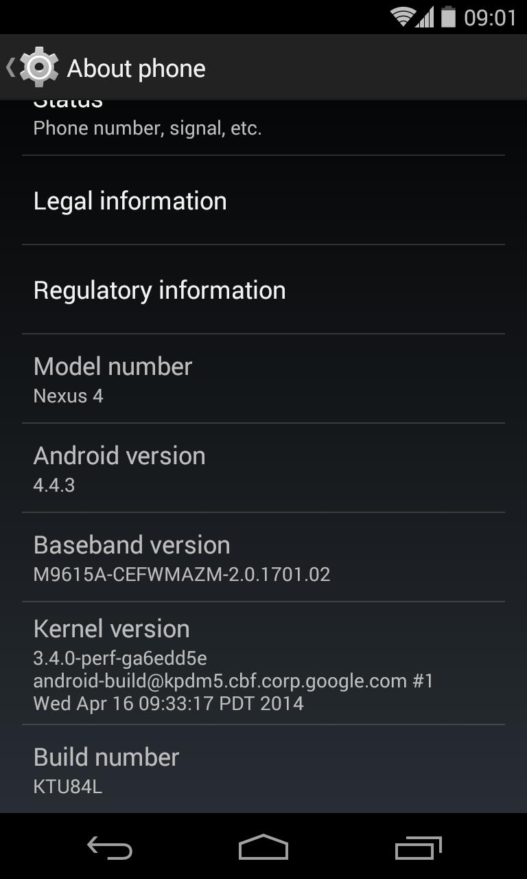 Nexus 4 Android 4.4.3