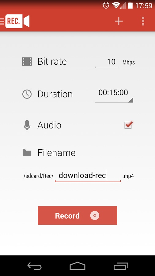 Screen Recorder Android Settings