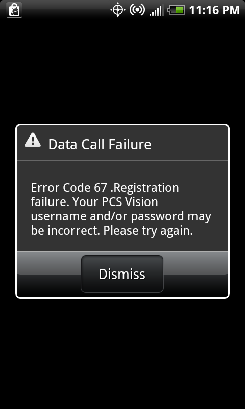 Sprint Error Code 67