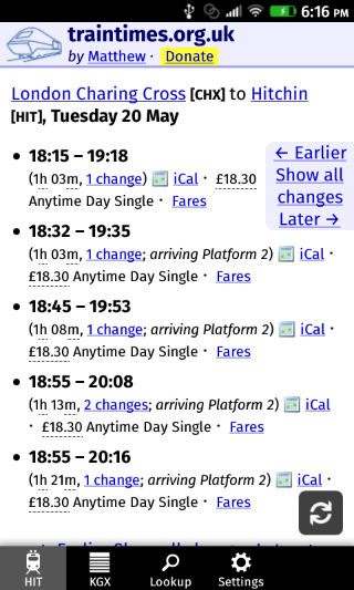 UK Train Timings
