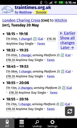 UK Train Timings