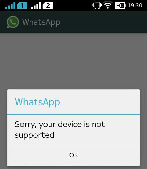 WhatsApp Nokia X Problem