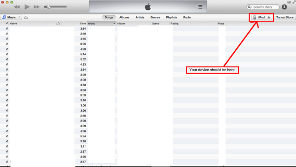 iTunes Selecting Device