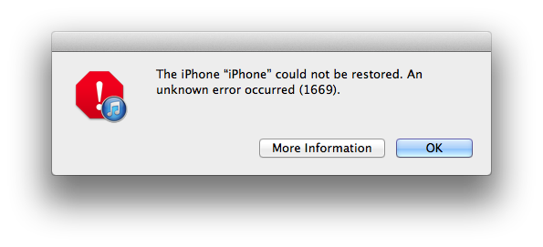 iPhone Error 1669