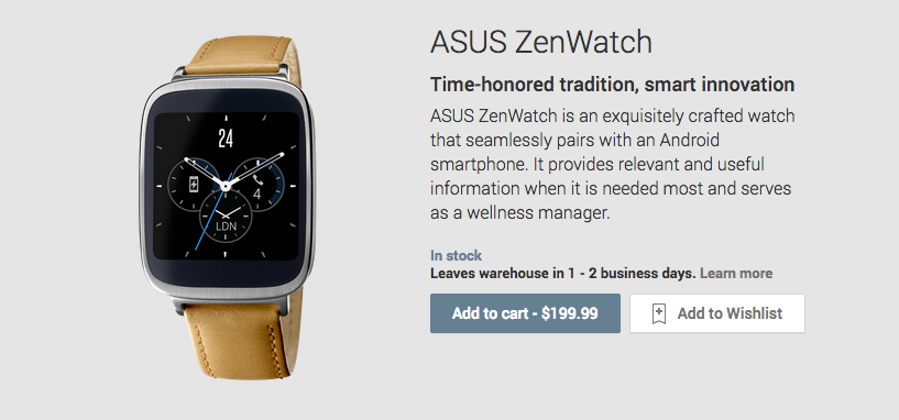 Asus Zenwatch Price
