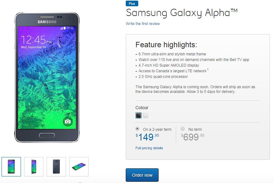 Bell Samsung Galaxy Alpha