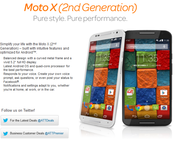 New Moto X 2nd Gen AT&T