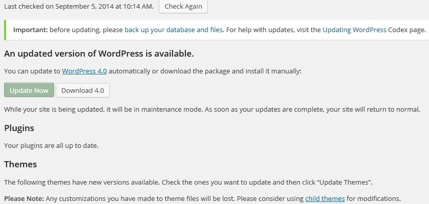 Wordpress 4.0 Update